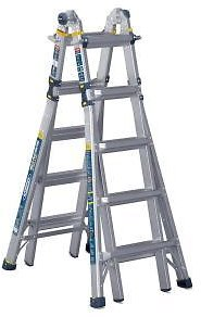 WERNER 22 Ft. Reach Aluminum 5-in-1 Multi-Position Pro Ladder with Powerlite Rails 375 Lbs. Load Capacity Type IAA Duty Rating-MT-22IAA