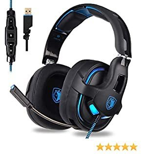 SADES R15 Gaming Headset USB Headset Stereo Over-Ear Gaming Headphones Supports Virtual 7.1 Channel Surround Sound with Microphone EQ Bass Boost Button for PC Mac