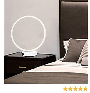 Circle Lamp, White Table Lamp with 3 Light, USB Lamp with Dual USB Charging Ports, Nightstand Bedside Lamp for Living Room Bedroom Office
