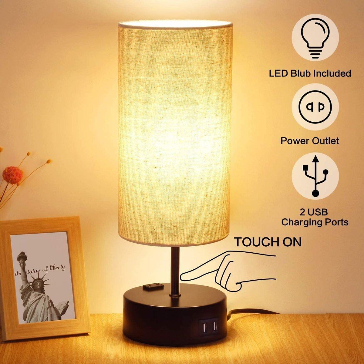 3 Way Dimmable Touch Table Lamp, 2 Fast Charging USB Ports with Power Outlet. Bedside Touch Lamp, Nightstand Lamp, Bedroom Lamp