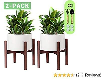 Cosyland Plant Stand Wooden 10 Inch with 1 Trowel and 1 Rake Beech Wood Flower Stand Pot Stand Plant Stand Holder Pot Not Included, Pack of 2