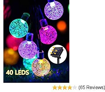 GreenClick Solar String Lights Outdoor, 25ft 40 Led String Lights 8 Modes Crystal Ball Waterproof Solar Powered String Lights for Bedroom, Garden, Party, Festival (Multi-Color)