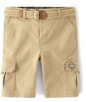 Boys Belted Woven Cargo Shorts