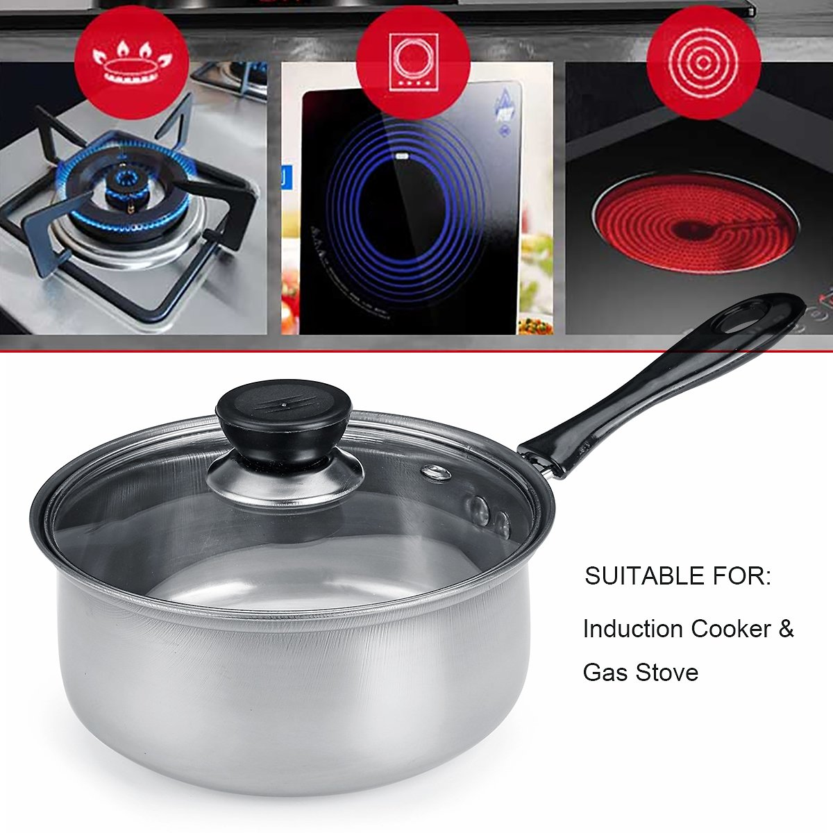 16cm Cooking Pot Steam Pot Thickening Hot Milk Pan Noodles PotHome Kitchen Cookware Tool Stainless Steel