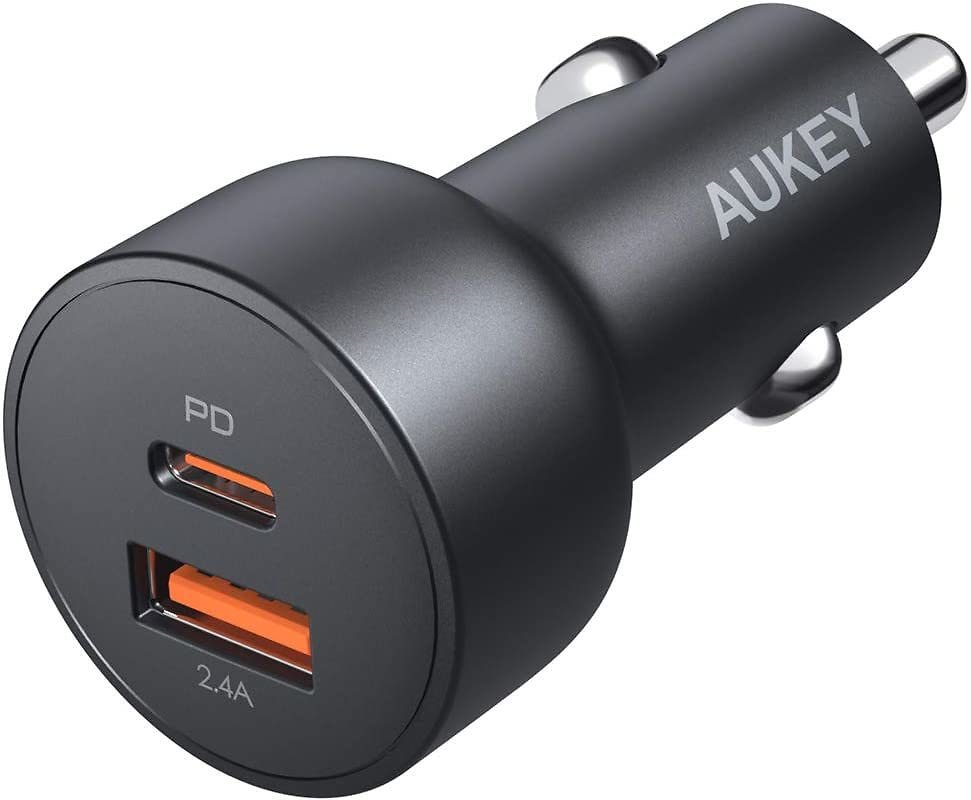 AUKEY 30W USB C Car Charger with Quick Charge 3.0, Dual PD Car Charger for IPhone 11 Pro Max XS XR X 8 SE, AirPods, IPad, Samsun
