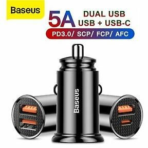Baseus Quick Charge 4.0 USB Car Charger PD 3.0 Type-C Adapter for Samsung IPhone