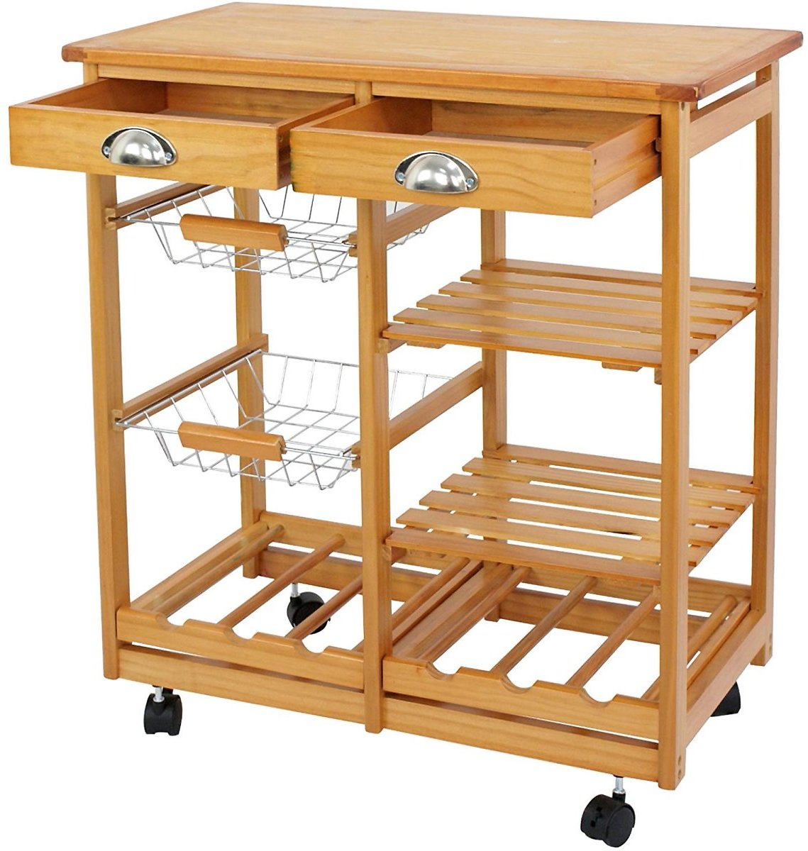 Kitchen-Cart-Island-Home-Rolling-Wooden-Dining-Storage-Trolley-Utility-Cart-W-Drawers-and-Steel-Baske