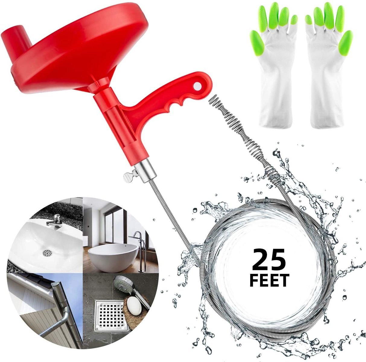 Oriflame 25 Feet Plumbing Snake Drain Auger Sink Snake Pipe Drain Cleaner for Bathroom Kitchen Sink, Shower Drain, Come with Glo