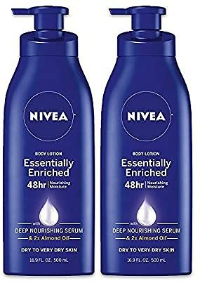 2 Pack, NIVEA A Essentially Enriched Body Lotion - 48 Hour Moisture For Dry to Very Dry Skin - 16.9 Fl. Oz. Bottles