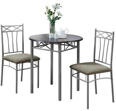 Monarch Specialties Cappuccino/Silver Dining Set with Round Dining Table Lowes.com