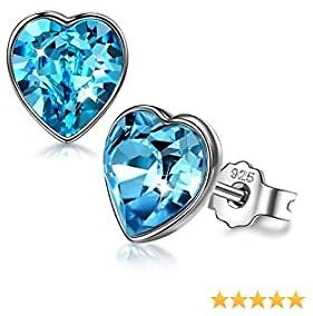 ANGEL NINA 925 Sterling Silver Stud Earrings Blue Heart Crystals from Swarovski Jewelry Gifts for Women with Elegant Jewelry Gift Box