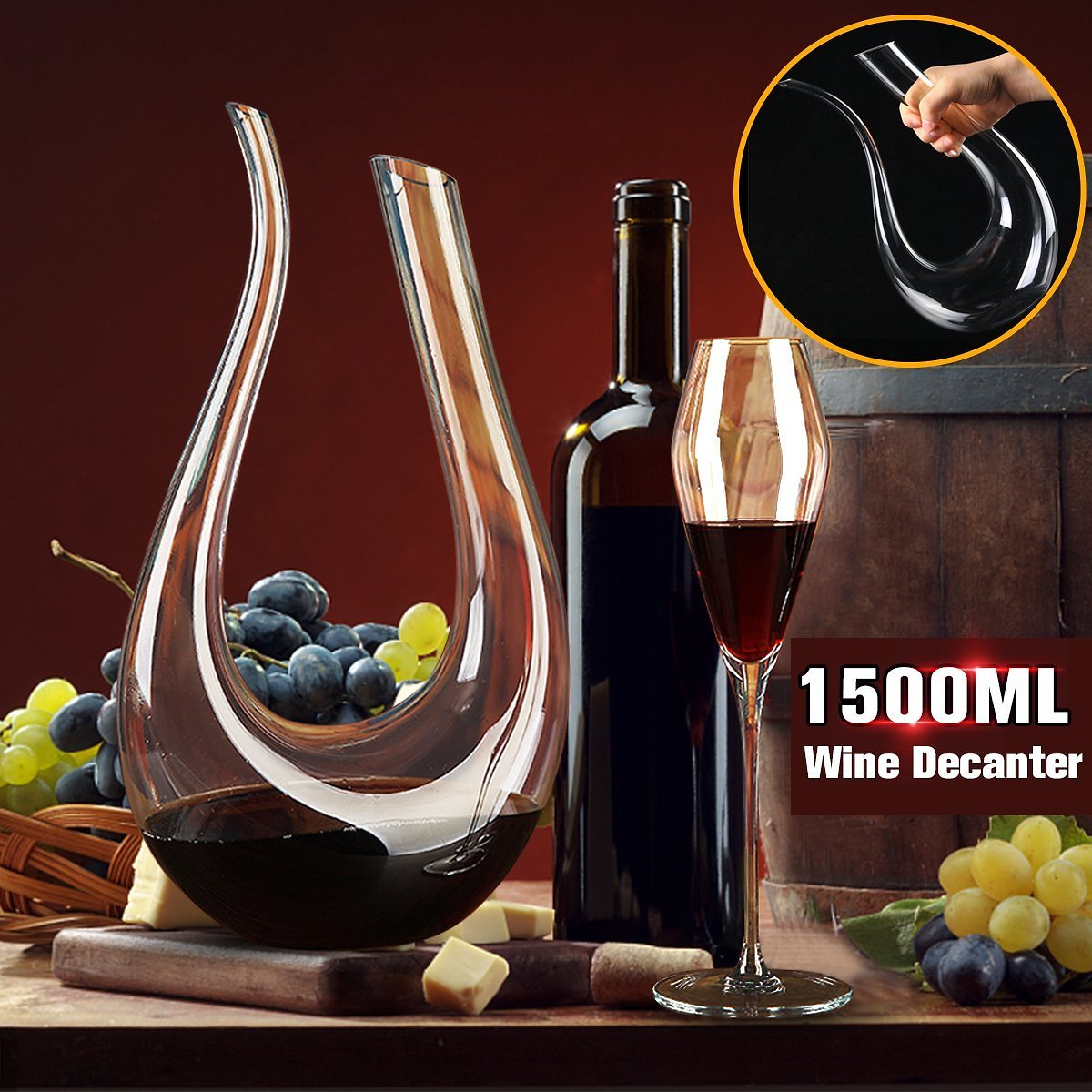Walmart Sale 1500ML-Luxurious-Crystal-Glass-U-shaped-Horn-Wine-Decanter-Wine-Pourer-Container-Handle-Lead-Free-Hor