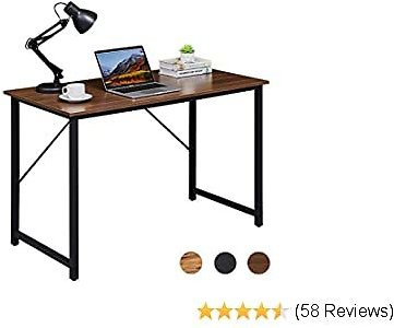 Superjare 47 Inches Computer Desk, Sturdy Home Office Desk for Laptop, Modern Simple Style Writing Table, Multipurpose Workstation - Brown