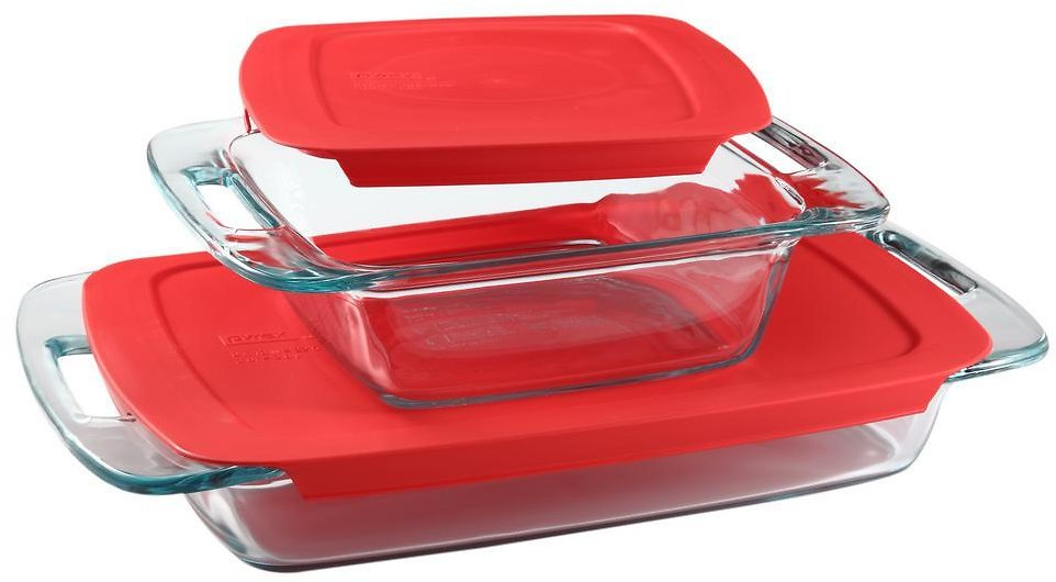 Pyrex Easy Grab 3 Qt. and 8 In. X 8 In. 4-Piece Glass Bakeware Set with Red Lids-1091675
