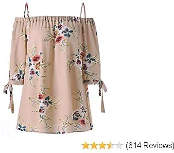 ZAFUL Women Plus Size Floral Classic Straps Cold Shoulder Regular Sleeve Blouse Shirt Top