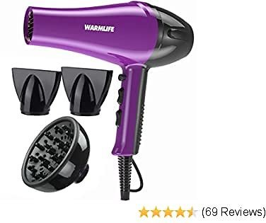 Warmlife Hair Dryers Salon Level AC Motor Blow Dryer with Powerful, Solid, Professional Hair Dryer with Diffuser, 1875w (Purple)