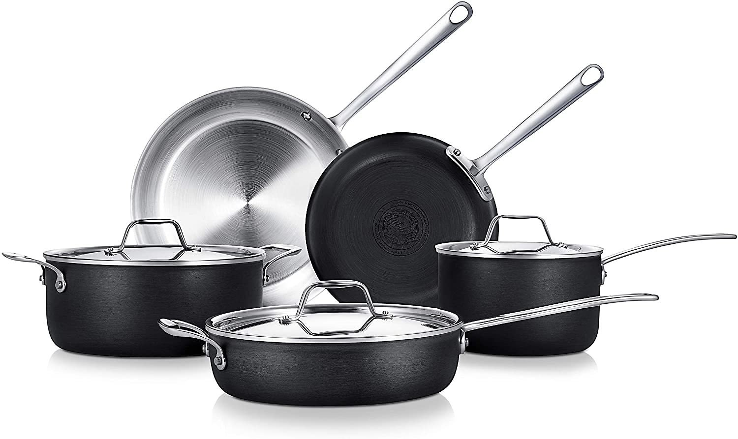 NutriChef Kit 8-Piece Steel-4-Ply Cookware W/Cast Stainless Steel Handle, 4-Ply Kitchenware Pots & Pans Set Stylish Kitchen