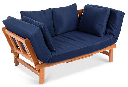 Best Choice Products Outdoor Convertible Acacia Wood Futon Sofa w/ Pullout Tray