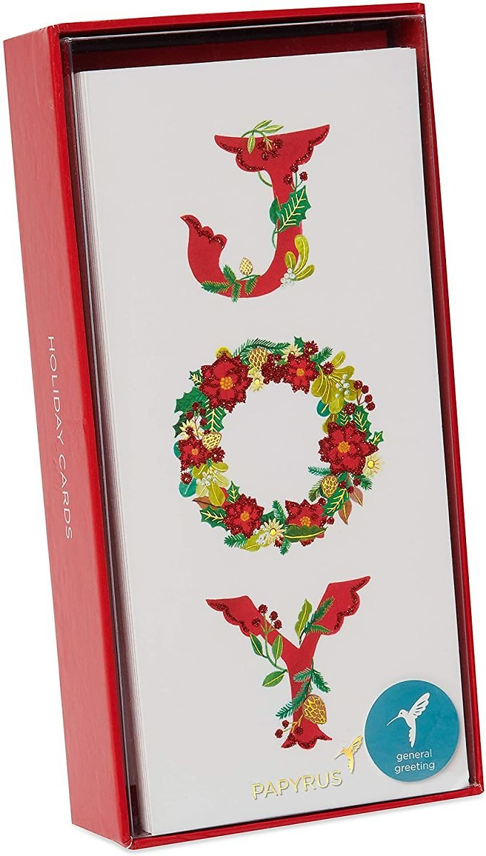Papyrus Christmas Gift Card Holder Boxed Cards, Holiday Joy Wreath (16-Count)