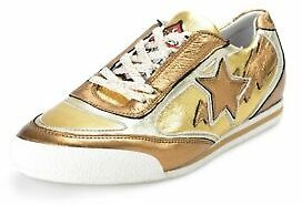 Just Cavalli Women's Leather Golden Lace Up Fashion Sneakers Shoes US 9 IT 39