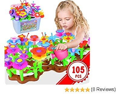 Kolegend Flower Garden Building Toys - 105 PCS Gardening Pretend Set Gifts for 3-6 Year Old Girls Arts and Crafts for Girls 11 Colors Birthday Gifts with Storage Box