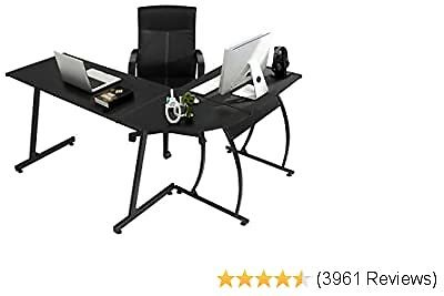 L-Shaped Corner Desk Computer Gaming Desk PC Table,Home Office Writing Workstation 3-Piece,Black