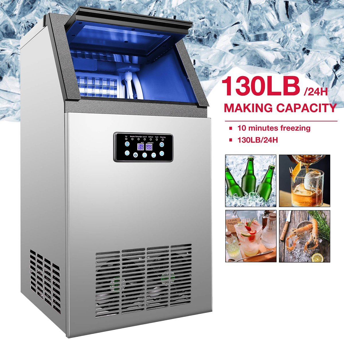 Commercial-Ice-Maker-Machine-For-Restaurant-Bar-36-Ice-Cube-130lb-24h