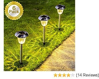 SUNWIND Solar Lights Outdoor, 6 Pack Stainless Steel Outdoor Solar Garden Lights Path Lighting for Pathway Walkway Patio Yard & Lawn Decoration