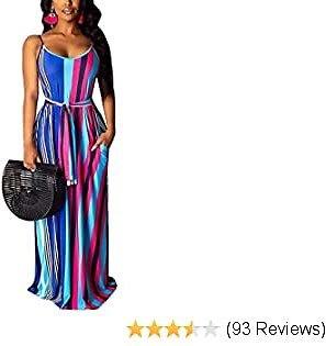 Sexy Long Maxi Dresses for Women Casual Summer Women's Striped Spaghetti Strap Dress Sundresses Plus Size with Pocket