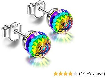 Kate Lynn Earrings for Women Over The Rainbow 925 Sterling Silver Stud Earrings Crystals from Swarovski Birthday Anniversary Gifts for Her with Jewelry Box, Soft Cloth