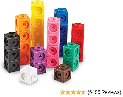 Learning Resources MathLink Cubes, Homeschool, Educational Counting Toy, Math Cubes, Linking Cubes, Early Math Skills, Math Manipulatives, Set of 100 Cubes, Ages 5+