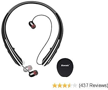 50% OFF for Bluenin Bluetooth 5.0 Wireless Neckband Headphones with Carrying Case,16 Hrs Playtime,2 Colors