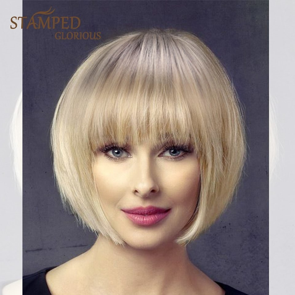 Straight Short Wig Ombre Black Blonde Wig Synthetic Cosplay Wig for Women Heat Resistant Fiber Hair