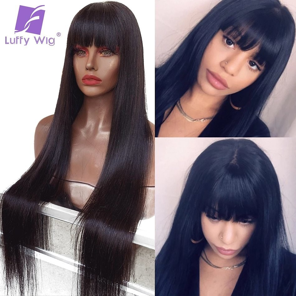 200 Density Brazilian Straight Lace Front Wig With Bangs For Women 13x6 Fake Scalp Human Hair Wigs Bleached Knots