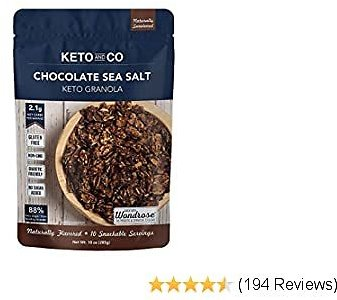Keto Chocolate Sea Salt Granola By Keto and Co | Just 2.1g Net Carbs Per Serving | Gluten Free, Low Carb, Diabetic Friendly, Naturally Sweetened, No Added Sugar, Non-GMO | (10 Servings)