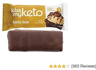 Kiss My Keto Bars - Low Carb (3g Net), Low Sugar Keto Snack Bars | Peanut Butter Chocolate Flavor, 12 Pack | Rich in Ketogenic Fats & Protein