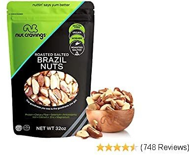 Brazil Nuts Roasted & Salted - No Shell, Whole (32oz - 2 Pound) Packed Fresh in Resealble Bag - Trail Mix Snack - Healthy Protien Food, All Natural, Keto Friendly, Vegan, Gluten Free, Kosher