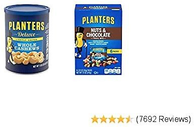 PLANTERS Deluxe Lightly Salted Whole Cashews, 18.25 Oz. Resealable Canister, Kosher & Nuts and Chocolate Trail Mix, 1.25 Oz. Bags (6 Pack) - Trail Mix with M&M's Chocolate and Roasted Peanuts
