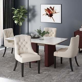 Hayden Contemporary Tufted Fabric Dining Chairs (Set of 4)