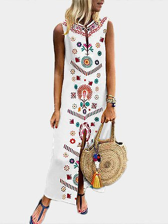 Women Printed V Neck Summer Floral Bohemian Dress Dresses from Women's Clothing on Banggood.com