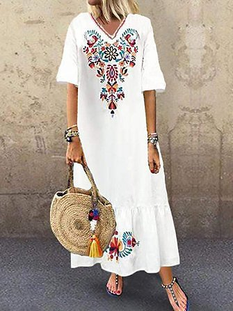 Bohemian Floral Print V-neck Flare Half Sleeve Beach Maxi Dress Dresses from Women's Clothing on Banggood.com