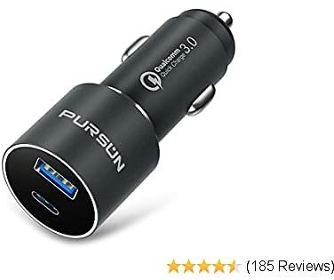 2020 Updated Aluminum USB Car Charger with Blue LED, QC 3.0 Technology, Fast 3A/18W Dual Ports Car Adapter, Smart Phone Charger, Compatible with IPhone, IPad, Samsung, Google Pixel and More