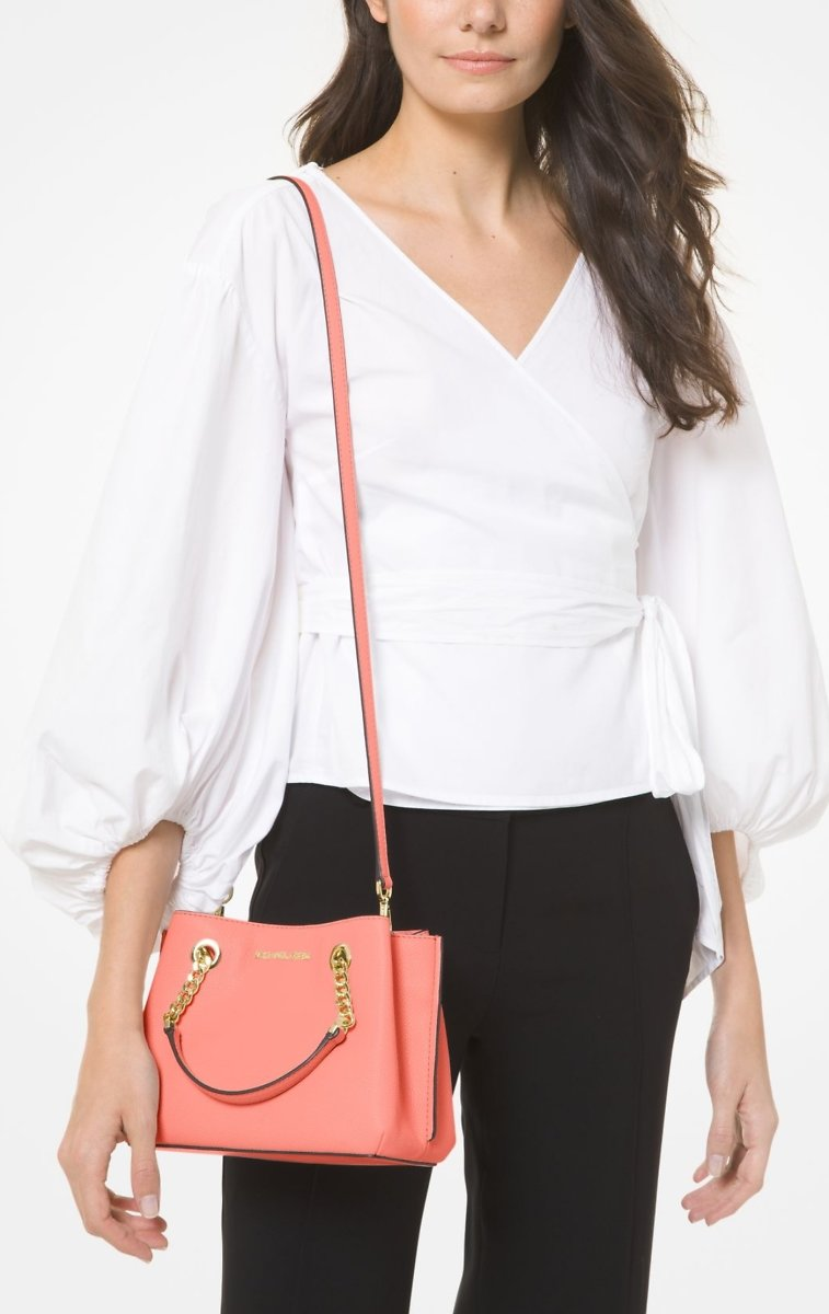 Michael Kors Teagen Small Pebbled Leather Messenger Bag - Peach