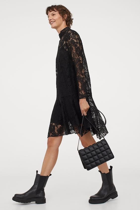 Lace Stand-up Collar Dress