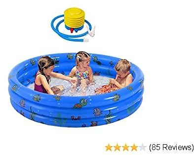 Raoccuy Round Inflatable Outdoor Kids Swimming 60Inch Garden Inflatable Baby Swimming Pool, Portable Inflatable Child/Children Little Pump Pool,Kiddie Paddling Pool Indoor&Outdoor Toddler Water Game
