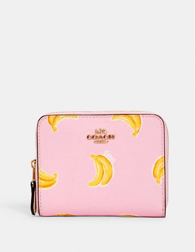 Small Zip Around Wallet with Banana Print