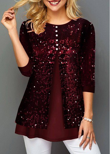 Points Sale ROTITA Sequin Panel Wine Red Button Detail T Shirt
