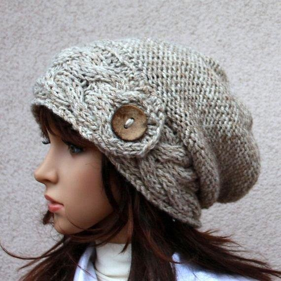 Hand Knitted Warm Slouchy Beanie. Soft and Comfortable Hat, Button Hat, Perfect for Colder Seasons! Available in Many Colours.
