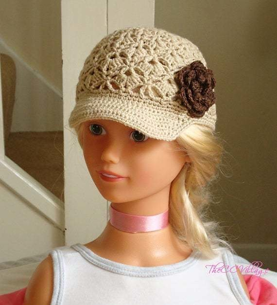 Brown Beige Crochet Baby Hat, Crochet Girl Hat, Handmade Flower