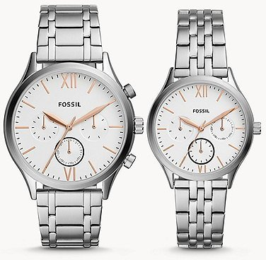 His and Her Fenmore Midsize Multifunction Stainless Steel Watch Gift Set - BQ2468SET - Fossil